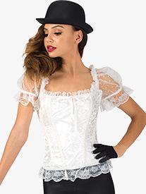Womens Ruffle Short Sleeve Hook Front Dance Corset