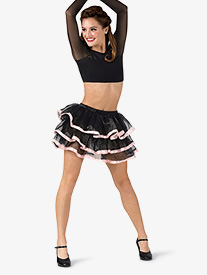 Womens 3-Tier Ribbon Trimmed Mesh Tutu Skirt