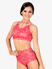 Womens Sequin Lace 2-Piece Dance Costume Set