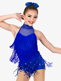 Girls Performance Mock Neck Fringe Shorty Unitard