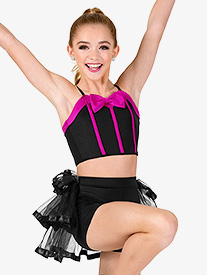 Girls Bra Top and Bustled Shorts Dance Costume Set