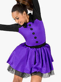 Womens Performance Two-Tone Long Sleeve Tutu Dress