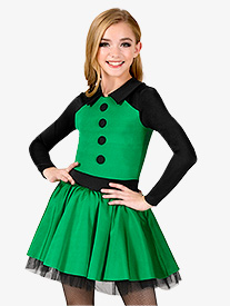 Girls Performance Two-Tone Long Sleeve Tutu Dress