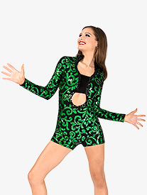 Womens Performance Contrast Sequin Long Sleeve Shorty Unitard