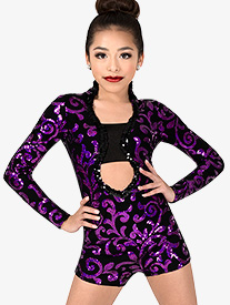 Girls Performance Contrast Sequin Long Sleeve Shorty Unitard