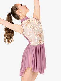 Womens Sequin Filigree Mock Neck Mesh Performance Dress