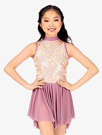 Girls Sequin Filigree Mock Neck Mesh Performance Dress