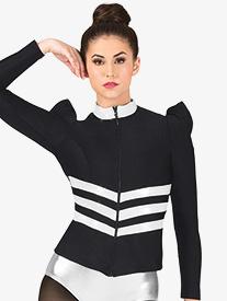 Womens Metallic Insert Puff Long Sleeve Performance Jacket