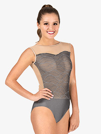 Womens Swirl Mesh Tank Performance Leotard