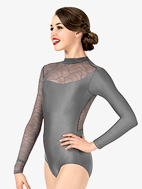 Womens Swirl Mesh Long Sleeve Performance Leotard