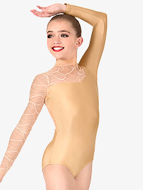 Girls Swirl Mesh Long Sleeve Performance Leotard