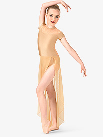 Girls Swirl Mesh Short Sleeve Performance Dress