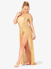 Womens Plus Size Swirl Mesh Short Sleeve Performance Dress