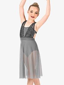 Girls Swirl Mesh Camisole Performance Dress