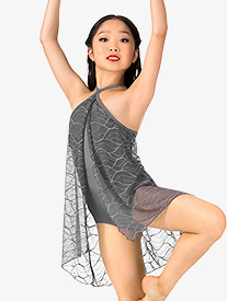 Girls Swirl Mesh Halter Performance Dress