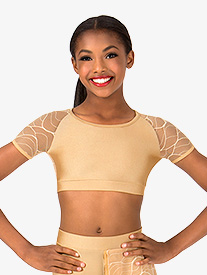 Womens Swirl Mesh Cap Sleeve Dance Crop Top