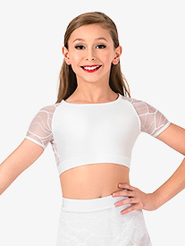 Girls Swirl Mesh Cap Sleeve Dance Crop Top
