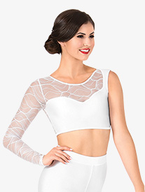 Womens Swirl Mesh Asymmetrical Dance Crop Top