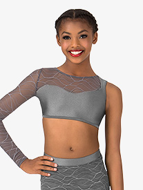 Girls Swirl Mesh Asymmetrical Dance Crop Top