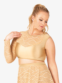 Womens Plus Size Swirl Mesh Asymmetrical Dance Crop Top