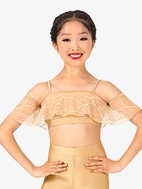 Girls Swirl Mesh Camisole Dance Crop Top