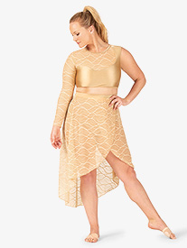Womens Plus Size Swirl Mesh Long High-Low Performance Skirt