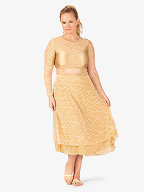 Womens Plus Size Swirl Mesh Long Performance Skirt