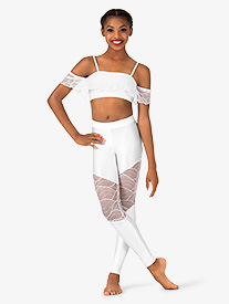 Girls Swirl Mesh Ankle-Length Dance Leggings