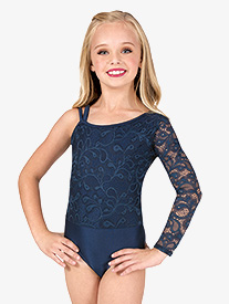 Girls Asymmetrical Lace Long Sleeve Leotard