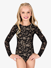 Child Long Sleeve Lace Leotard