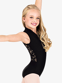 Girls Mock Neck Lace Back Tank Leotard