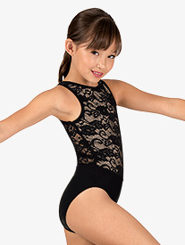 Girls Lace Upper Tank Leotard