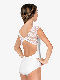Womens Cap Sleeve Pinched Back Lace Leotard