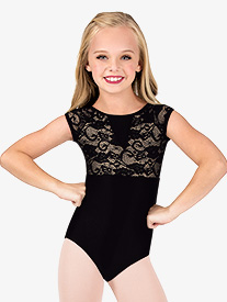 Child Cap Sleeve Pinched Back Lace Leotard
