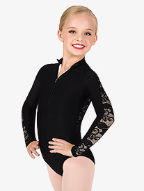 Girls Lace Back Mock Neck Long Sleeve Leotard