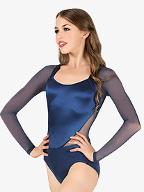 Womens Performance Satin Back Cutout Long Sleeve Leotard