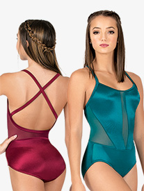 Womens Performance Satin Crisscross Camisole Leotard