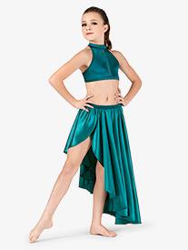 Girls Performance Satin Mock Wrap Skirt