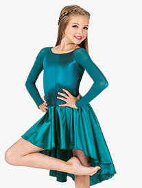 Girls Performance Satin Asymmetrical Long Sleeve Dress