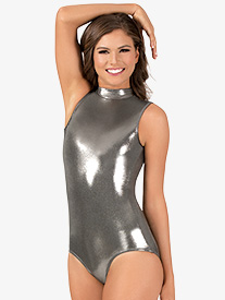 Womens Mock Neck Metallic Tank Leotard