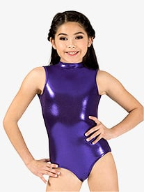 Girls Mock Neck Metallic Tank Leotard