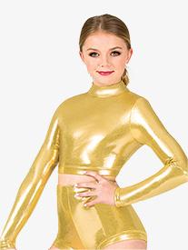 Womens Metallic Long Sleeve Dance Crop Top