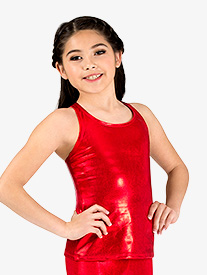 Girls Long Metallic Halter Dance Tank Top