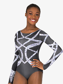 Womens Geometric Rhinestone Sublimated Print Performance Leotard