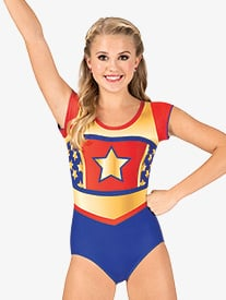 Girls Superhero Sublimated Print Short Sleeve Performance Leotard