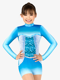 Girls Snow Princess Sublimated Print Performance Shorty Unitard