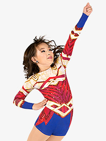 Girls Warrior Princess Sublimated Print Performance Shorty Unitard