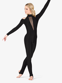 Womens Performance Shoulder Cutout Stirrup Unitard