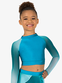 Girls Performance Ombre Mesh Long Sleeve Crop Top