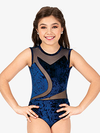 Girls Performance Crushed Velvet Tank Leotard